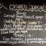 Brunch Specials, curried sweet potato soup, gullrock oyster shooter, picnic platter, eggs Benedict