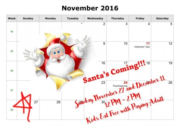 Santa's Coming to Blue Water and Kids Eat FREE!! Sundays 11/27 and 12/11